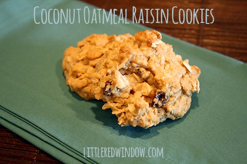 Two oatmeal raisin cookies in a teal bowl on a teal napkin