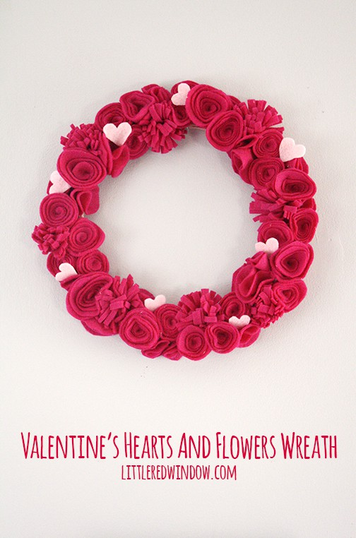 Valentine's Hearts and Flowers Felt Wreath  | littleredwindow.com | Make a beautiful, fluffy Hearts and Flowers Wreath for Valentine's Day from Felt with this great tutorial!