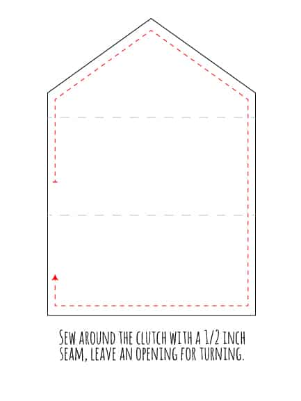 Line drawing showing how far to sew around the edges of the clutch to leave an opening for turning
