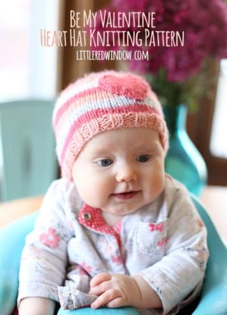 Be My Valentine Heart Hat Knitting Pattern | littleredwindow.com
