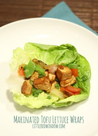 Marinated Tofu Lettuce Wrap | littleredwindow.com | Easy, low carb and delicious recipe for tofu with lots of flavor!