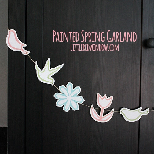 Painted Spring Garland | littleredwindow.com | Make a sweet and Spring-y garland from unpainted wood shapes!