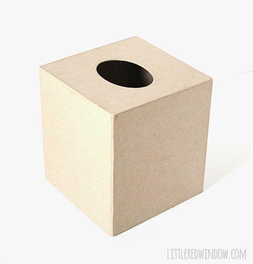 Brown paper mache tissue box cover