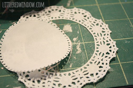 Closeup of paper lace doily