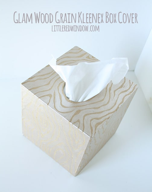 Glam Wood Grain Kleenex Box Cover  | littleredwindow.com  |  Pretty up your tissue with this great hand-painted wood grain box cover tutorial!