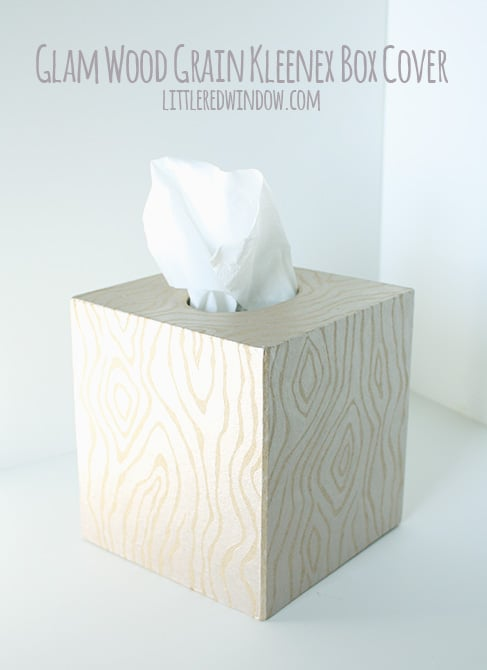 Finished view of tissue box cover with metallic wood grain pattern on all sides