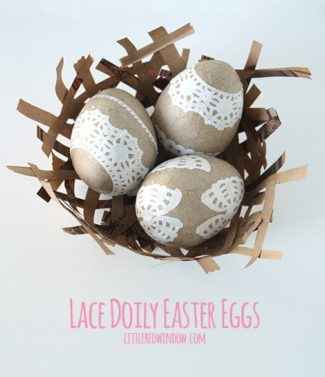 Lace Doily Easter Eggs in a brown paper nest top view