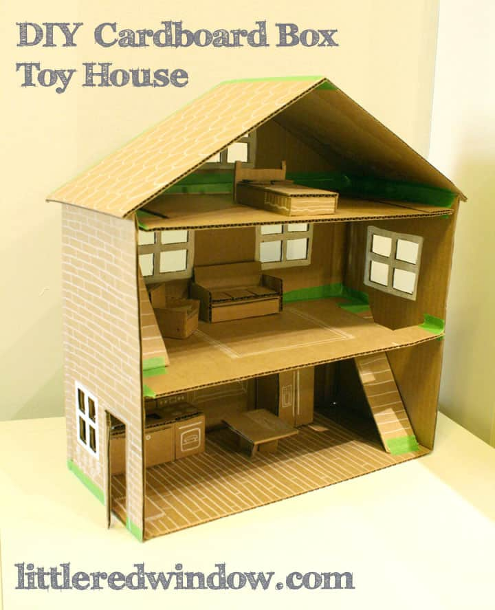 DIY Cardboard Box Toy Doll House with all the furniture inside