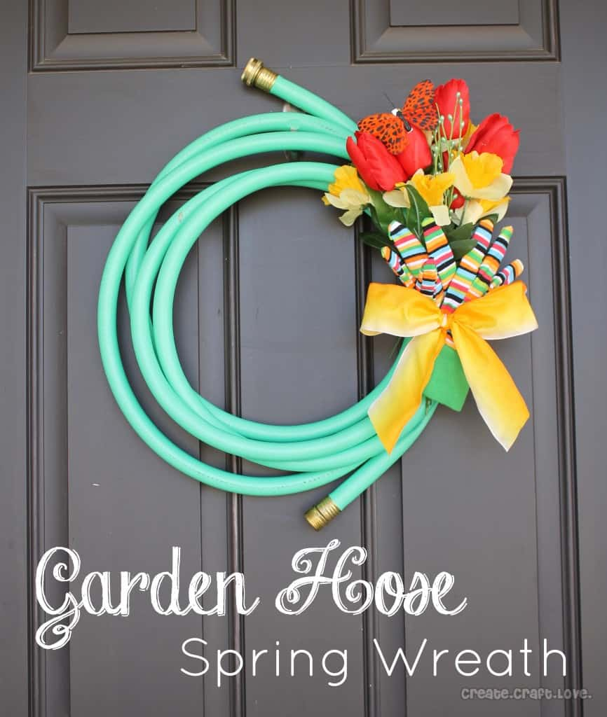 wreath made of a garden hose coiled up