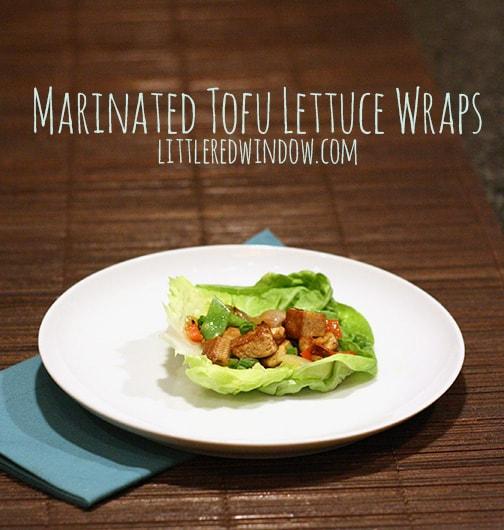 Marinated Tofu Lettuce Wrap on a white plate