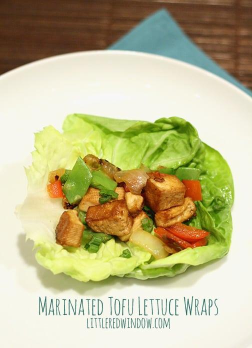 Closeup of Marinated Tofu Lettuce Wrap