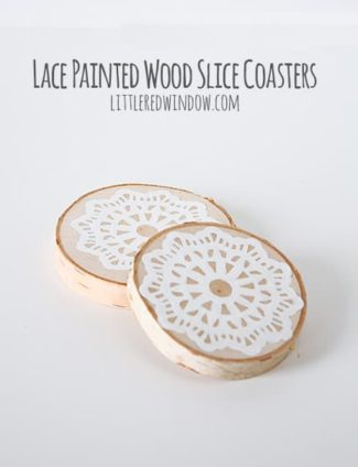 Lace Painted Wood Slice Coasters
