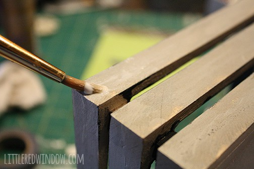 Wood Slat Accessory Tray Makeover | littleredwindow.com | Pretty up a plain wood tray with a simple tutorial!