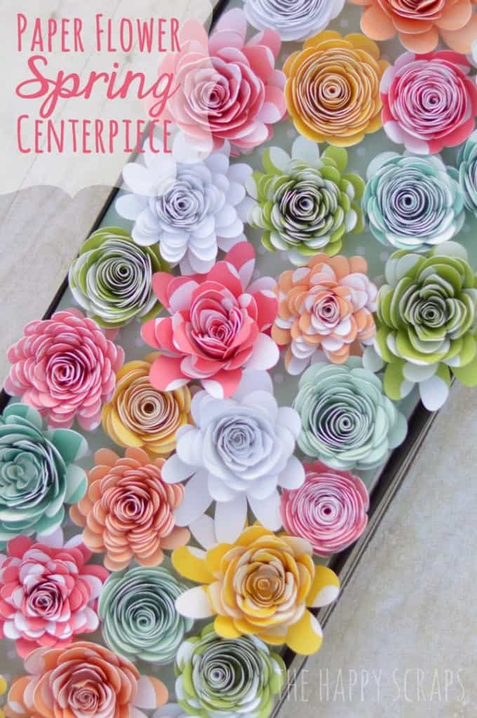 tray of colorful paper flowers used as a centerpiece