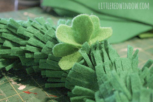 Detail of how to attach the felt shamrocks to a St. Patrick's Day Shamrock Wreath