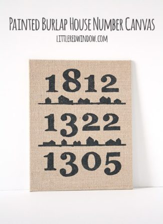 Painted Burlap House Number Canvas