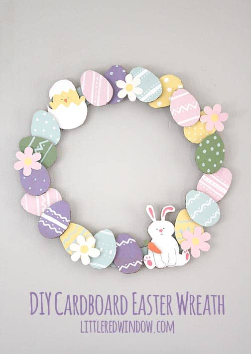 Make a fun DIY Cardboard Easter wreath out of recycled materials you already have at home!