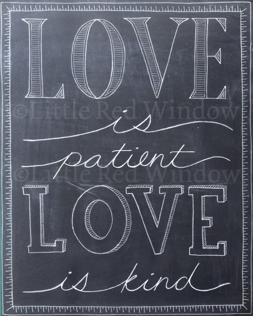 chalkboard typography drawing that says Love is patient, Love is kind