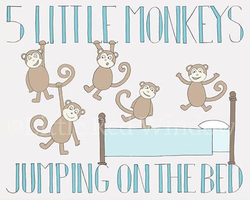 5 Monkeys - LittleRedWindow on Etsy