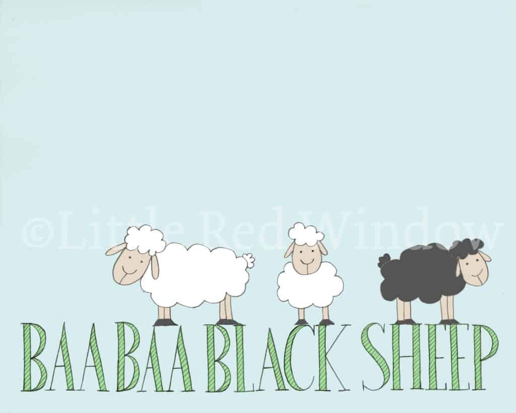 drawing of two white sheep and one black sheep standing on the words Baa Baa Black Sheep