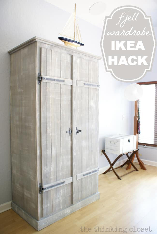 ikea wardrobe painted gray with slatted wood applied to doors