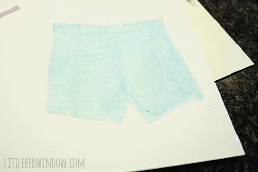 blue shorts watercolored