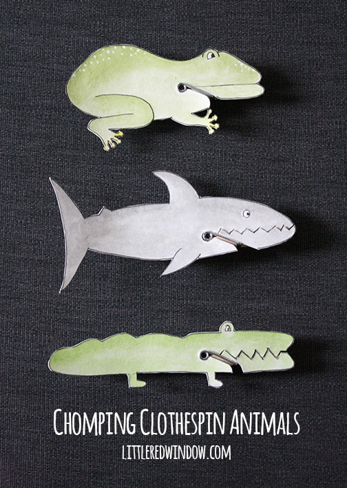 frog, shark and alligator chomping clothespin animals