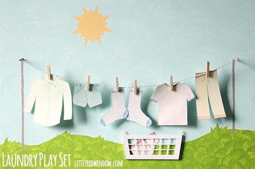 DIY Laundry Play Set with paper clothes to hang and laundry basked to store them in