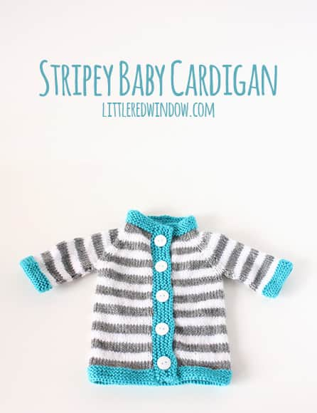Stripey Baby Bunting Cardigan | littleredwindow.com | Adorable sweater perfect for a new baby and a pattern review!