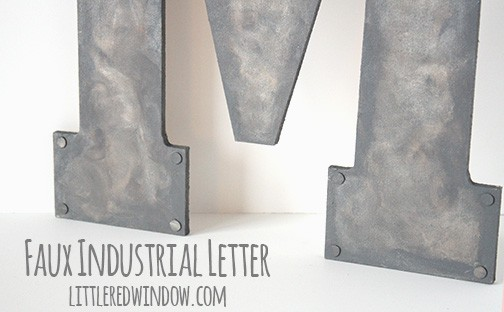Faux Metal Industrial Monogram | littleredwindow.com | Turn unpainted wood into faux industrial metal with this tutorial!