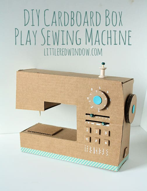 DIY Cardboard Box Play Sewing Machine in front of a white background