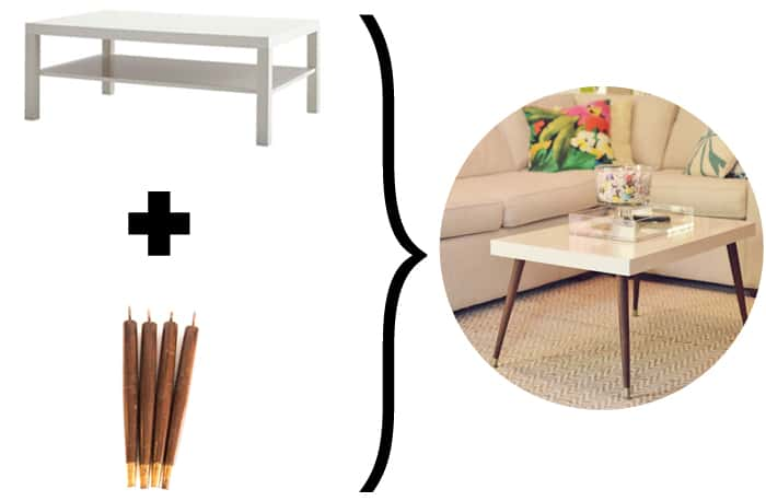 graphic showing a coffee table with different legs added