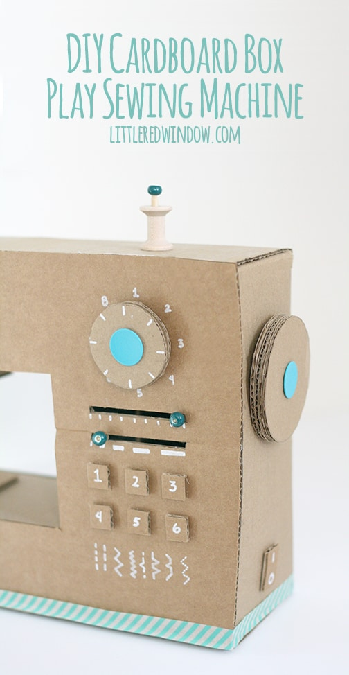 closeup of DIY Cardboard Box Play Sewing Machine in front of a white background
