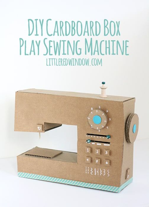 Diy cardboard box play sewing machine little red window for What to do with old mailbox