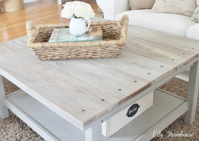 coffee table with repurposed wood slat top