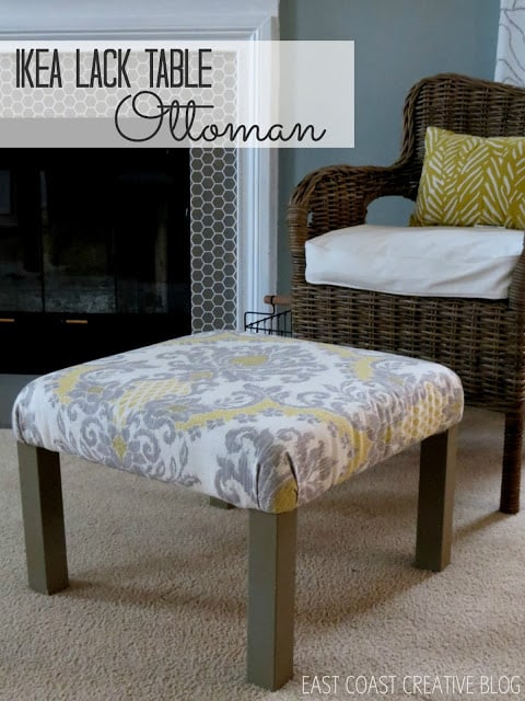 coffee table iwth fabric wrapped on top to become an ottoman