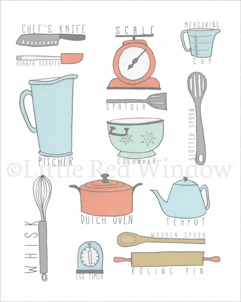 Drawing of a bunch of common kitchen utensils labeled including picther, colander, spatula, slotted spoon, teapot, scale and measuring cup