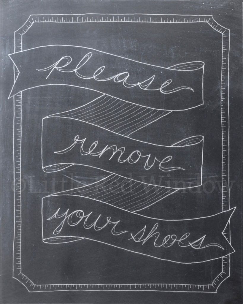 chalkboard drawing that says please remove your shoes in cursive