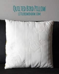 Quilted Bird Pillow | littleredwindow.com