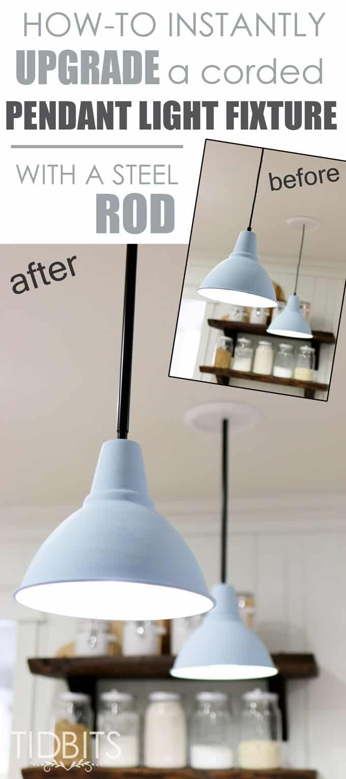 Blue metal pendant lights with a before and after picture showing how the cord was changed from a regular cord to a black steel rod