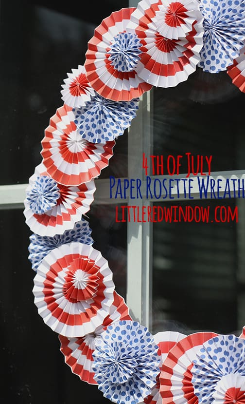 DIY 4th of July Paper Rosette Wreath, this quick and easy craft is perfect for the holiday and is under $5! | littleredwindow.com