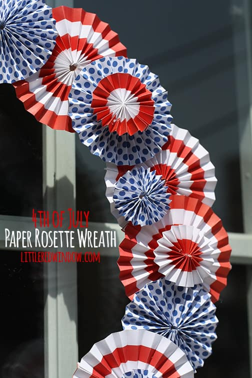 4th of July Paper Rosette Wreath | littleredwindow.com