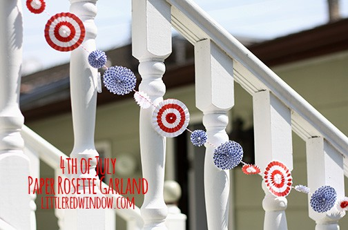 4th of July Paper Rosette Garland | littleredwindow.com