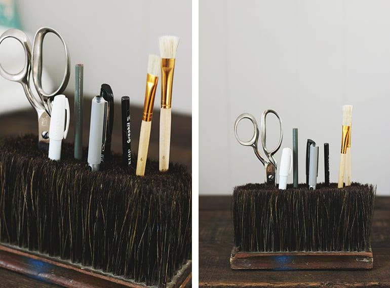 industrial scrub brush used as a pencil holder