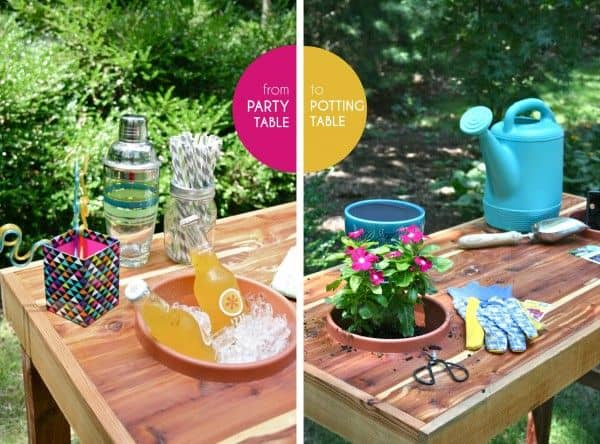 Graphic showing a table set for a party on the left and set as a gardening station on the right