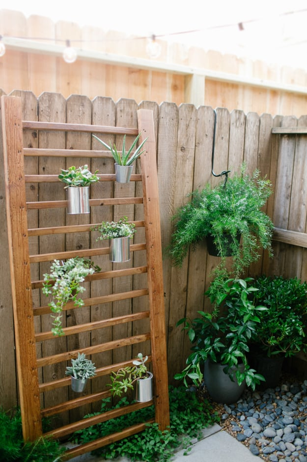 Wood ladder like structure leaning against a garden fence with hanging metal cans filled with plants on it