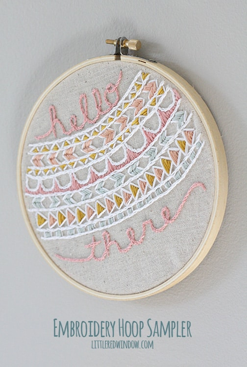 Embroidery Hoop Sampler |  littleredwindow.com