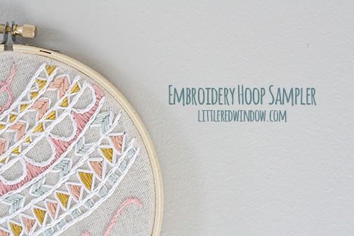 Embroidery Hoop Sampler | littleredwindow.com