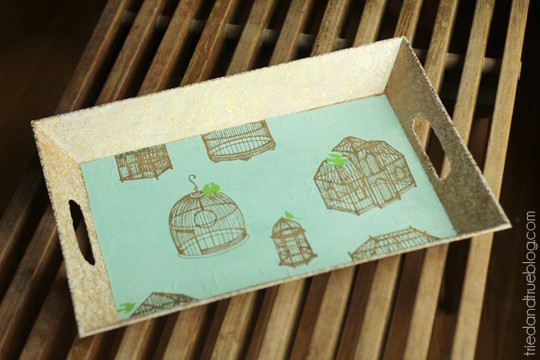 Gold rectangular tray with birdcage patterned paper on the interior