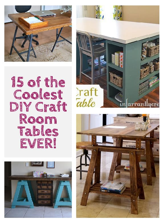 15 of the coolest diy craft room tables ever little red for Small craft table with storage